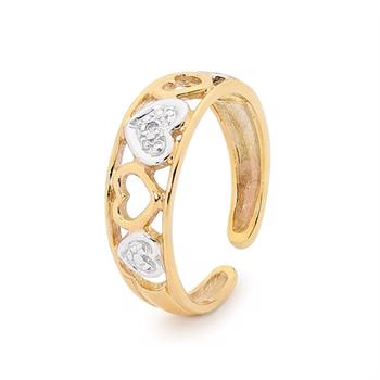 Hearts 9 ct toe ring with Diamonds