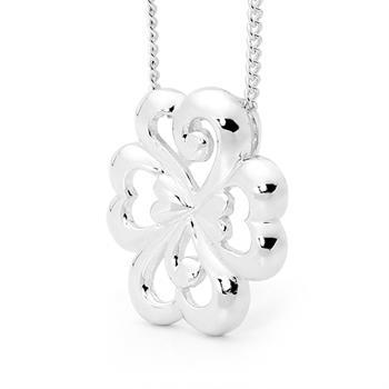 Silver Clover Pendant with hearts