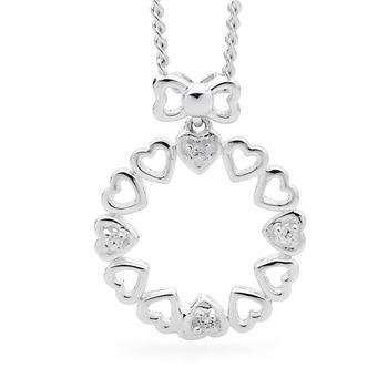 Silver Heart Wreath Set With Zirconia