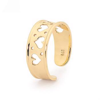 9 ct gold toe ring flat design with hearts