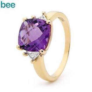 Romantic Heart Amethyst and diamond Ring
