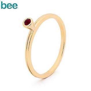Bee Jewelry guldring i 9 kt. med röd ruby