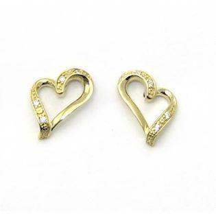 Silver mini heart earrings with zirkonia