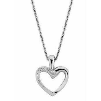 14 carat white gold heart pendant with 0,06 ct diamonds