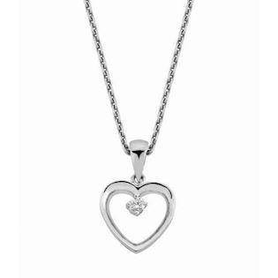 14 carat white gold heart pendant with 0,02 ct diamond