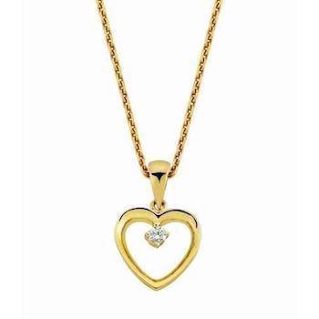14 carat gold pendant with 0,02 ct diamond