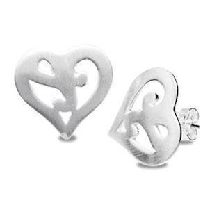 "Silver Heart Earrings ""Brushed Finish"""