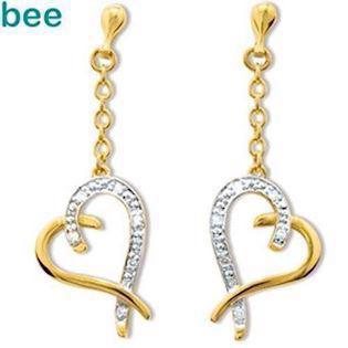 Diamond Set Heart Drop Earrings