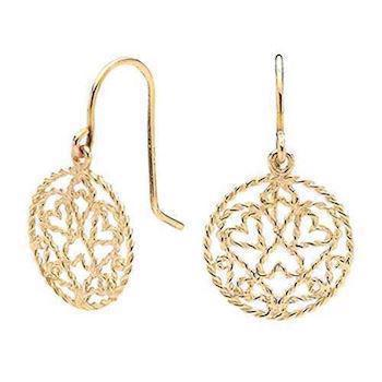 Gold filigree earrings made from solid 9 ct gold wire
