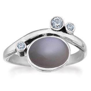 Rabinivich 50916354, Silver ring with moonstone and topaz, ringsize 54