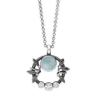 Rabinivich 51316153, Silver necklace with pendant with aqua calcedon and zirkonia