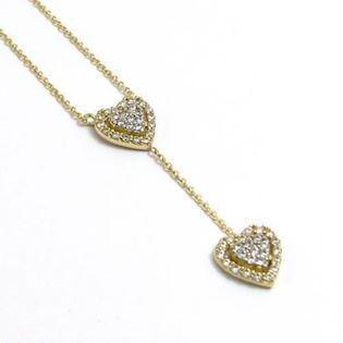 Elegant 8 carat hearts with zirconia and 45 cm chain