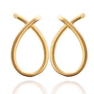 Cross Over gold plated silver earrings by Izabel Camille