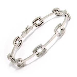 14 karat whitegold bracelet with zirkonia
