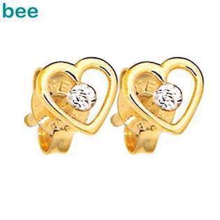 9 ct gold heart ear studs with diamonds