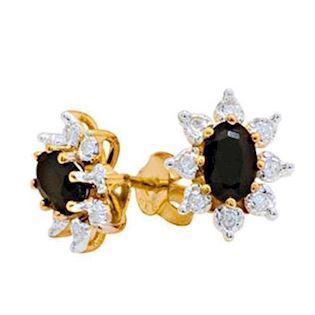 9 ct gold sapphire cluster earrings