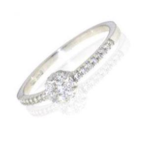 18 carat Italian white gold ring with 0,25 ct diamonds