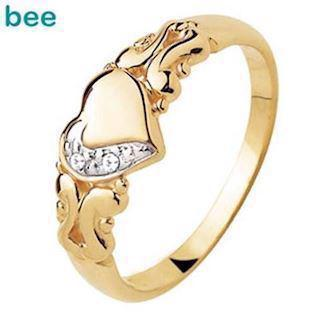 Romantic 9 ct love ring  w/ 2 x 0.005 ct diamonds