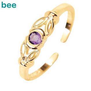 Purple Zirconia Toe Ring in 9 ct gold