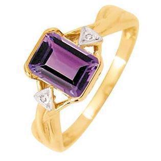 9 ct Gold Ring with Amethyst and diamonds