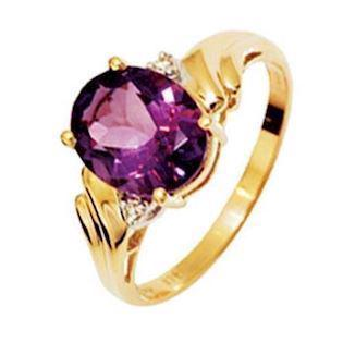 9 ct Large Amethyst and Diamond ring