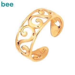9 ct Gold toe ring with waves