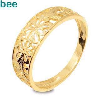 9 ct Solid Filigree Gold Ring with Flowers