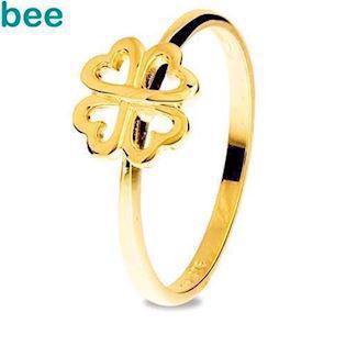 Lucky Gold Ring with Four Leaf Clover