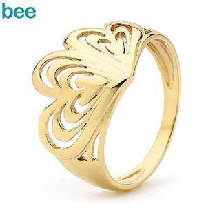 9 ct gold ring with heart-in-heart
