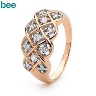 Triple Dreamweaver Ring - 9 kt - Yellow Gold and Diamond