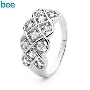 Triple Dreamweaver Ring - 9 kt - White Gold and Diamond
