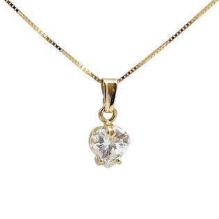 14 carat heart-shaped pendant with zirconia