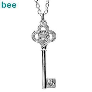 "Silver Key Pendant with Zirconia ""Heart Opener"""