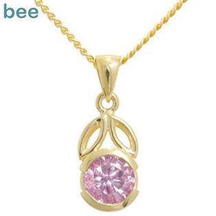 Gold Pendant with pink zirkonia - One Carat Size