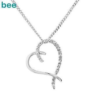9 ct white gold diamond heart pendant