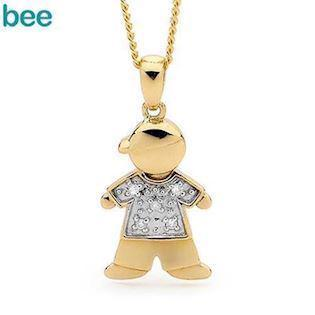 Charm Boy Jack Gold Pendant with Diamonds