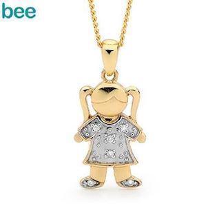 Charm Girl Jill Gold Pendant with Diamonds