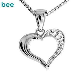 Classic 9 ct white gold diamond set heart pendant