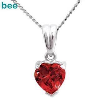 9 ct white gold Heart Ruby Pendant